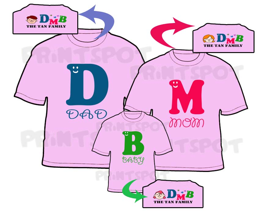 Dad Mom Baby Family Tee (PSFT029)