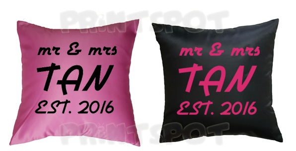 Mr & Mrs Establishment Date Cushions